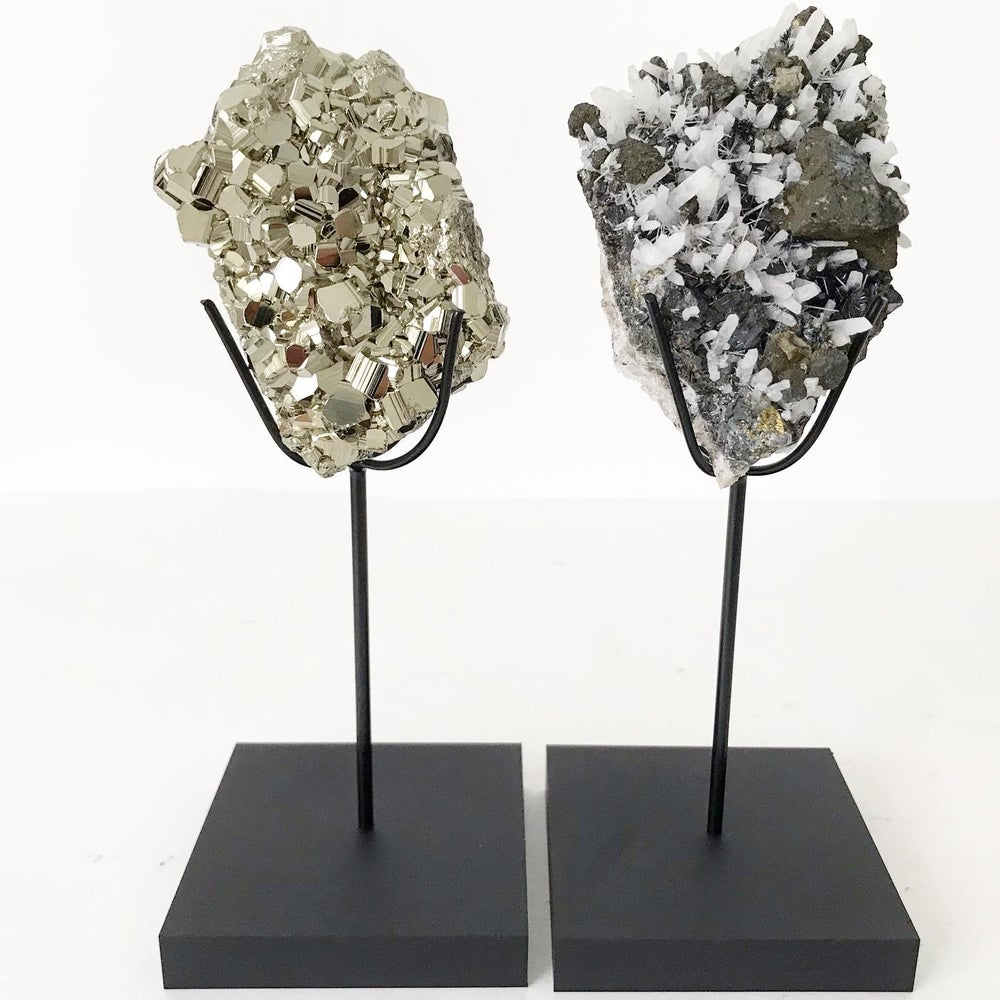 Image of Quartz/Galena/Pyrite no.20 + Matte Black Lucite Stand