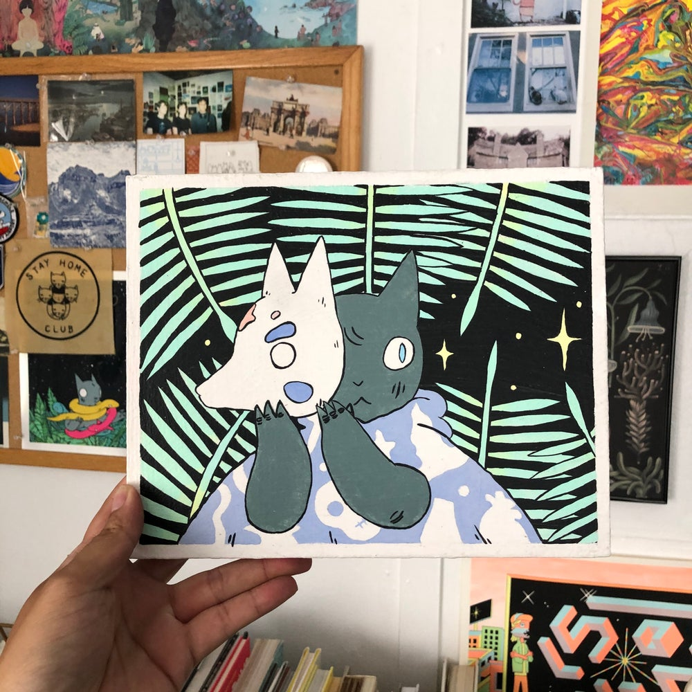 Image of Cat with Wolf Mask Painting (2019)