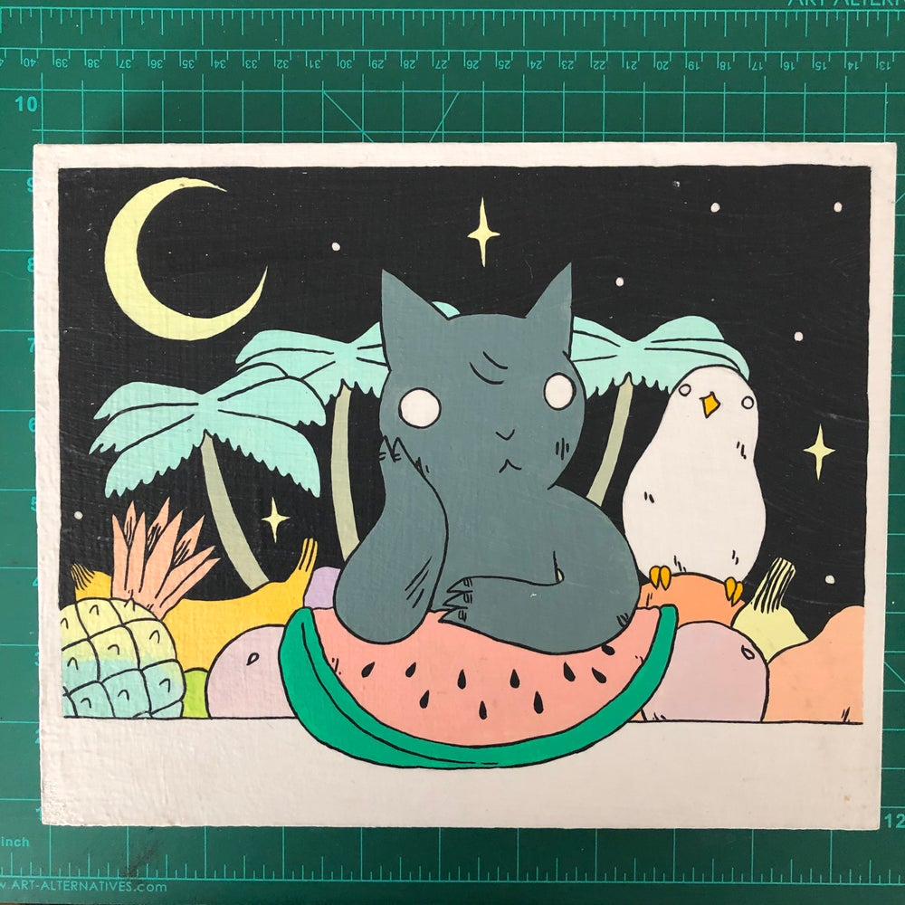 Image of Cat with Watermelon