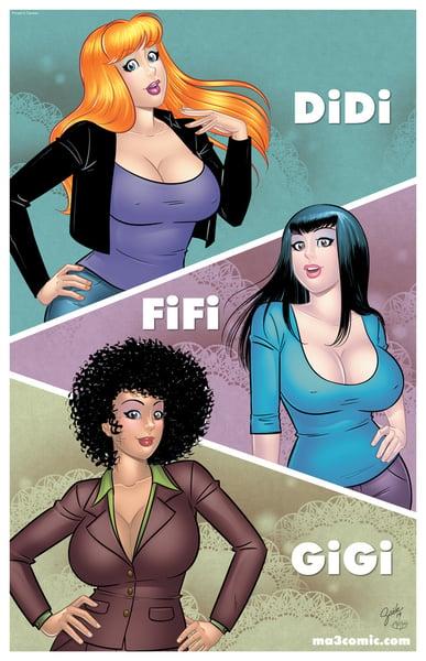 """Image of DiDi, FiFi and GiGi 11""""x17"""" poster"""