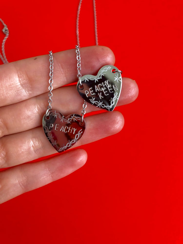 Image of STAMPED & ENGRAVED HEART PENDANTS