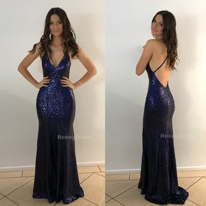 Image of Blue Sequin V-Neck Long Evening Dress, Spaghetti Strap Mermaid Prom Formal Dress With Sweep Train