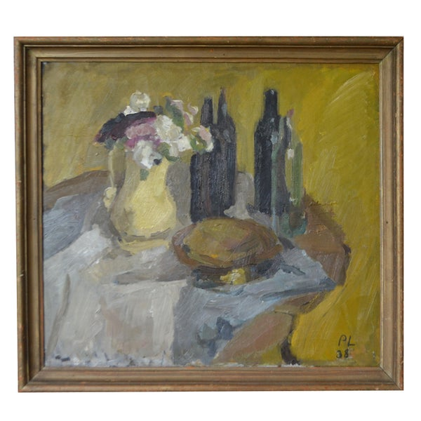 Image of 1938, Swedish Painting, 'Still Life with Bottles,' Per Lindekrantz (1913-1994)