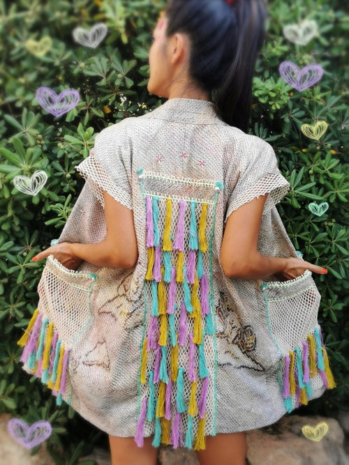 Image of Beige Shibori Rainbow