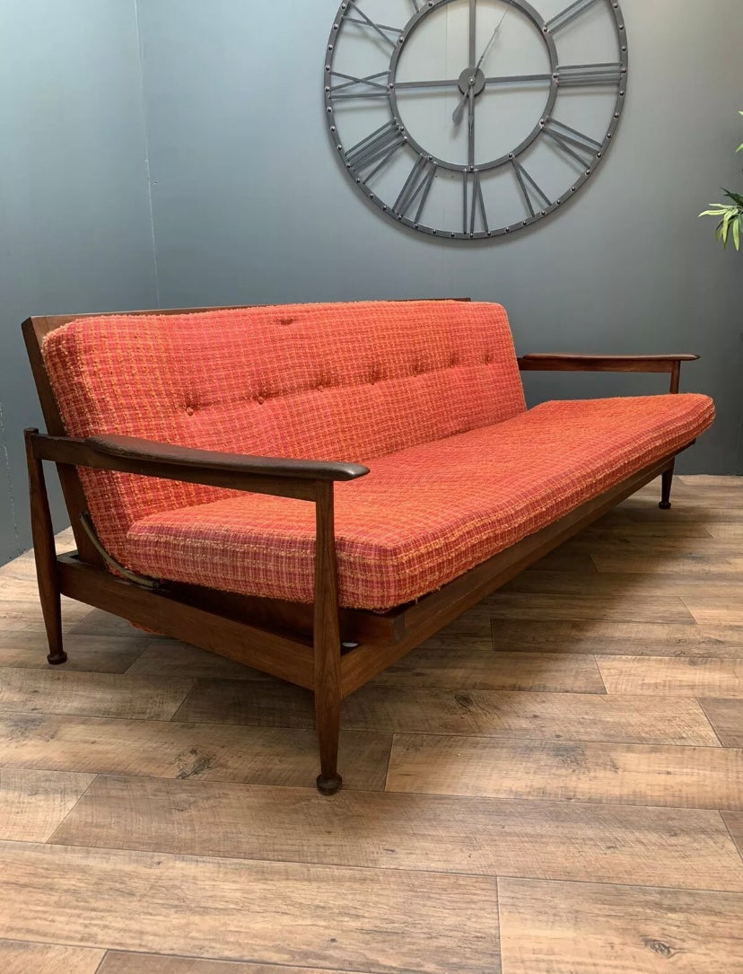 Image of MID CENTURY RETRO VINTAGE GUY ROGERS MANHATTAN TEAK DOUBLE SOFA BED.