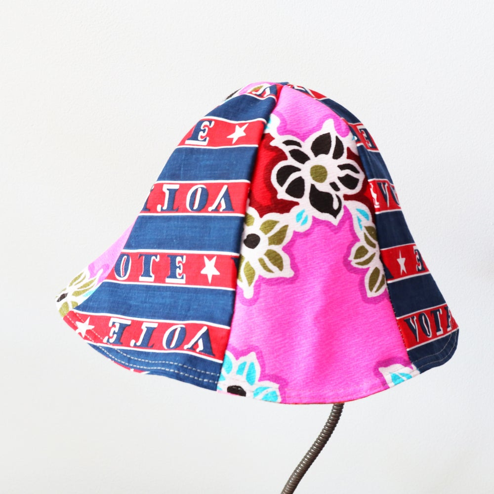Image of neon pink vote bold  tween teen adult vintage fabric six panel bucket hat buckethat sunhat