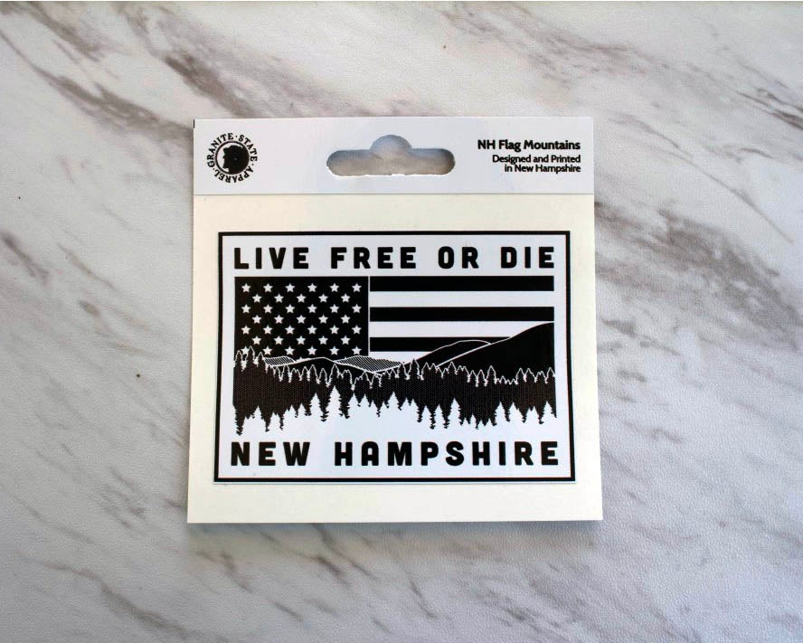 Image of NH Flag & Mountains Sticker Decal