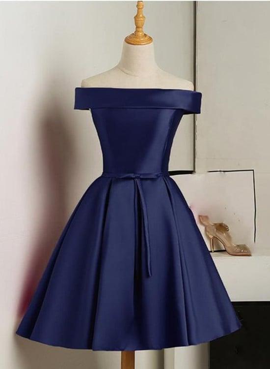Lovely Navy Blue Short Party Dress, Off Shoulder Satin Prom Dress