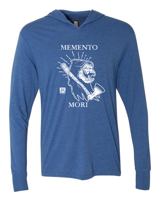 Image of HAC - Grim Ape Memento Mori BLUE L/S Hooded Tech Tee