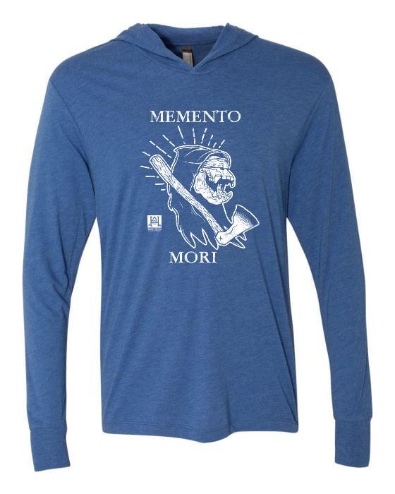 Image of HAC - Grim Ape Memento Mori BLUE L/S Hooded Tech Tee