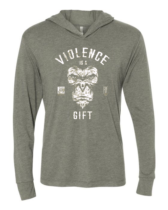 Image of HAC - Violence is a Gift / We Hit Grey L/S Hooded Tech Tee