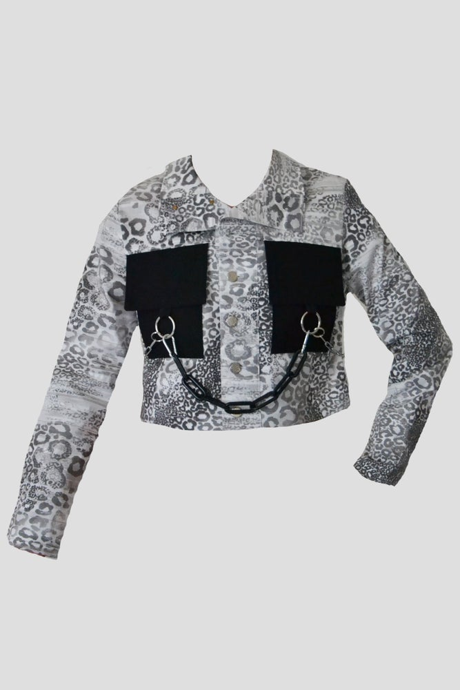 Image of silver snake denim jacket