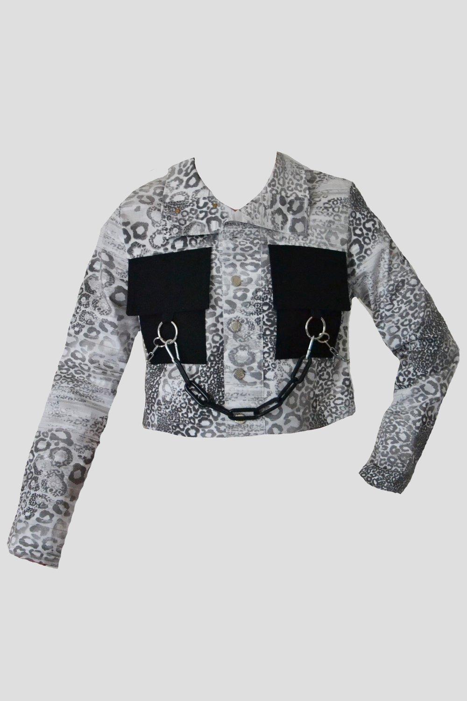 Image of silver snake denim jacket