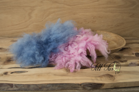 Image of Set of 2 Fluffy Rugs Size B: Pink and Blue (SET46). Newborn Wool  Prop by Feltfur