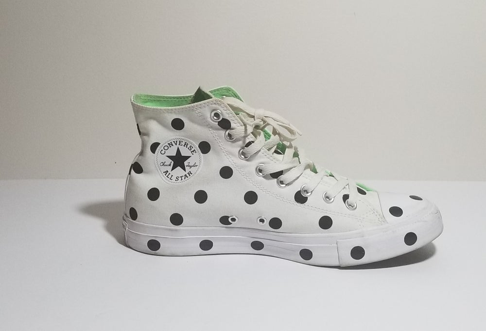 Image of B & W Polka Dot Chucks - Men's Size 9/Women's Size 11