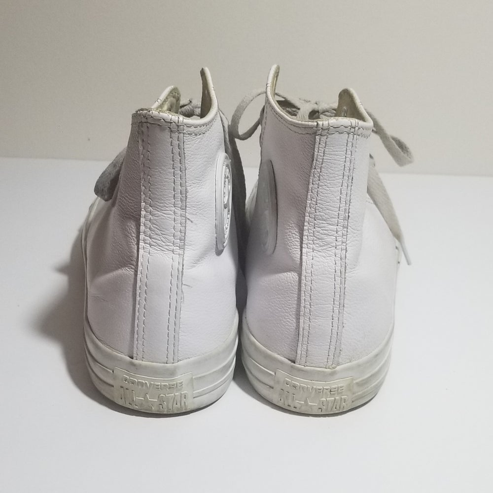 Image of Chucks Hi Leather White Monochrome - Men's Size 9/Women's Size 11