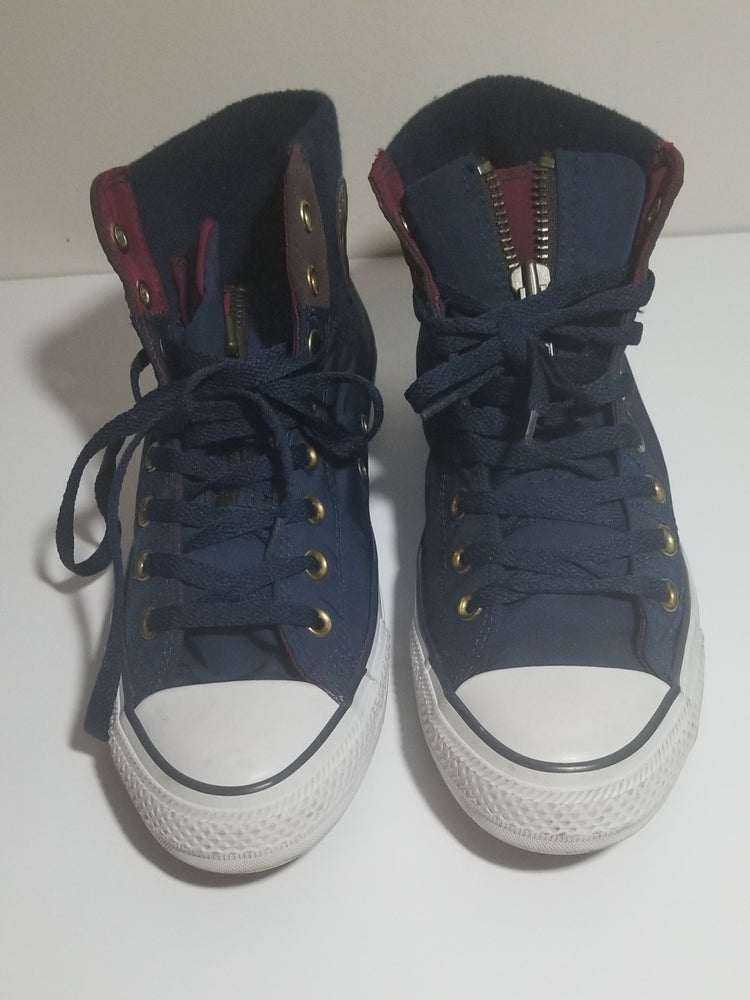 Image of Chucks Hi Navy/Maroon Zipper Tongue - Men's Size 9/Women's Size 11