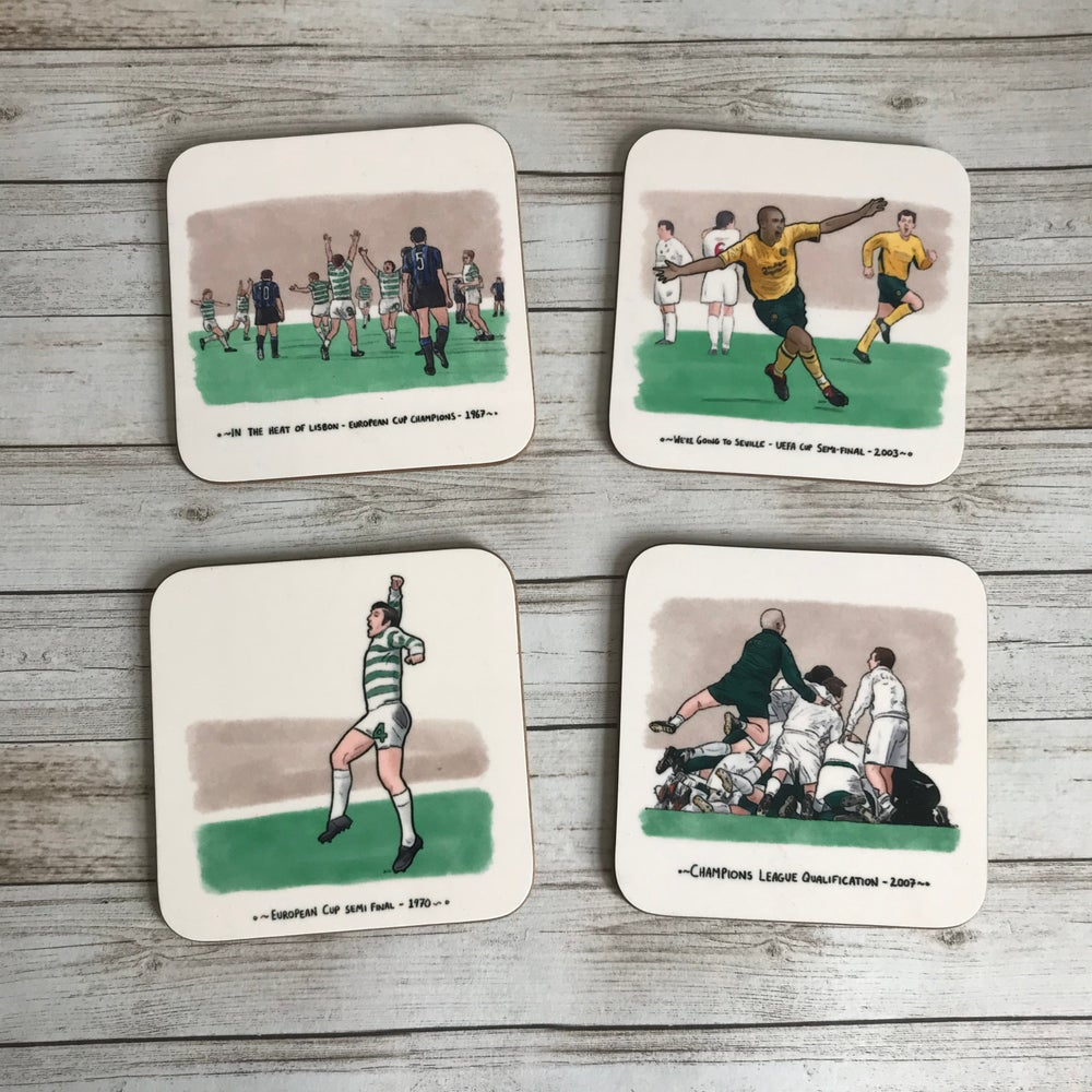 Image of PREORDER: CELTIC GREATEST EUROPEAN MOMENTS - COASTER SET