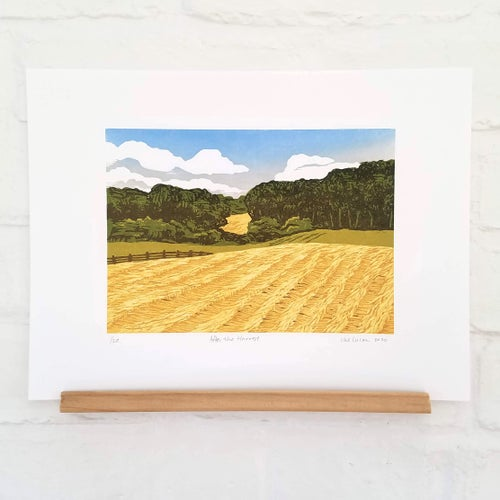 Image of After the Harvest Reduction Woodcut Print