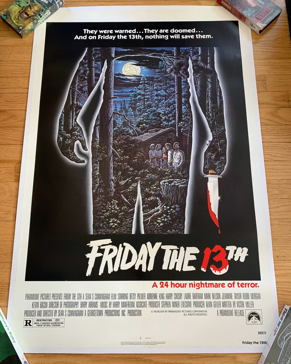 1980 FRIDAY THE 13TH Original U.S. Linen Backed One Sheet Movie Poster