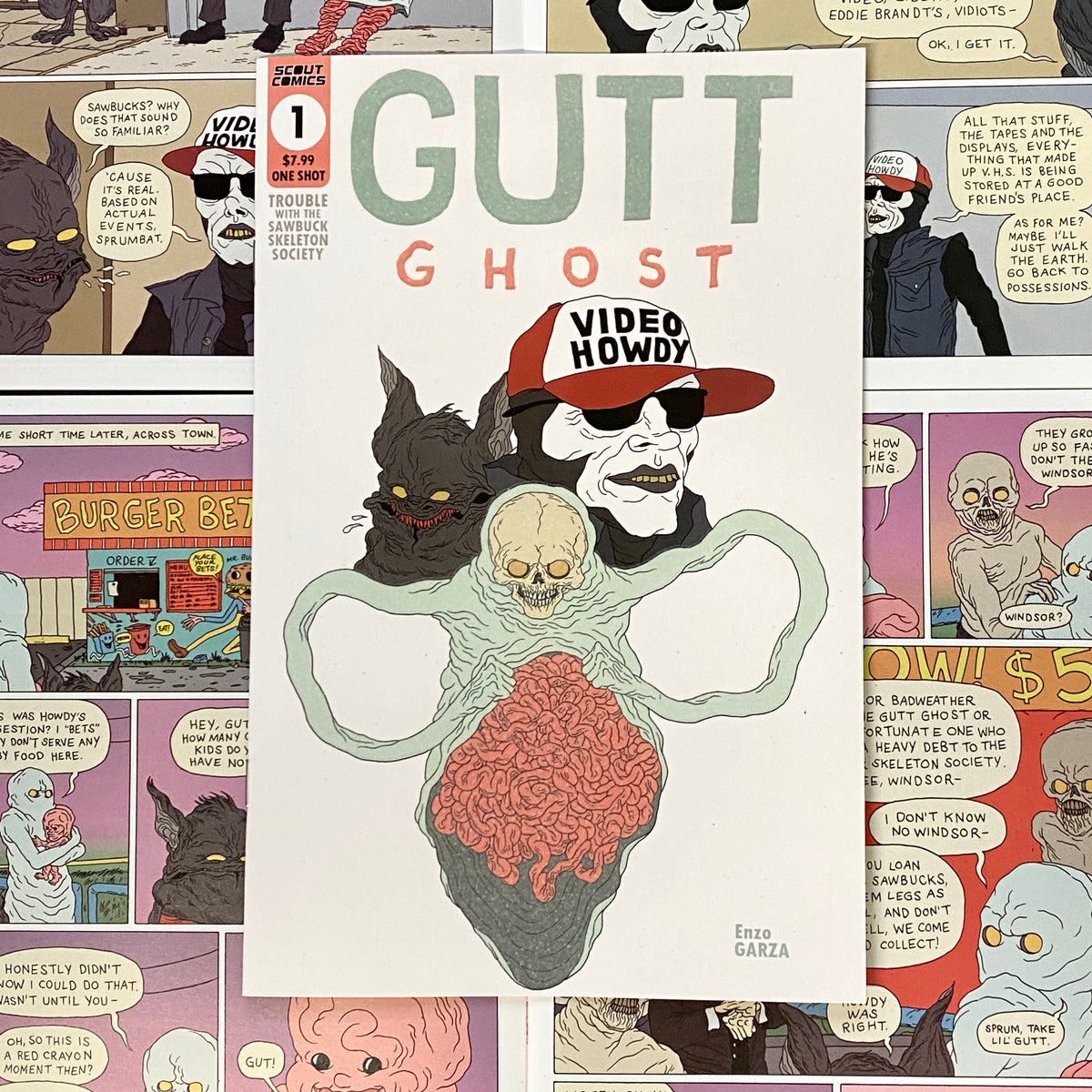 Image of Gutt Ghost: Trouble w/ the Sawbucks (GID Cover) Comic & Sketch
