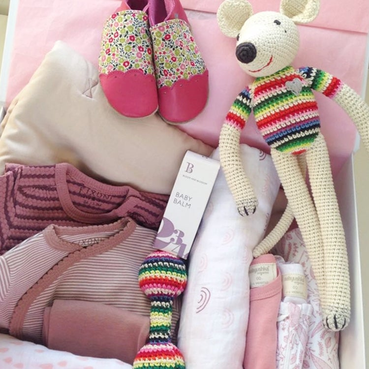 Image of Deluxe Dusky Pink Baby Box with Liberty Print Shoes