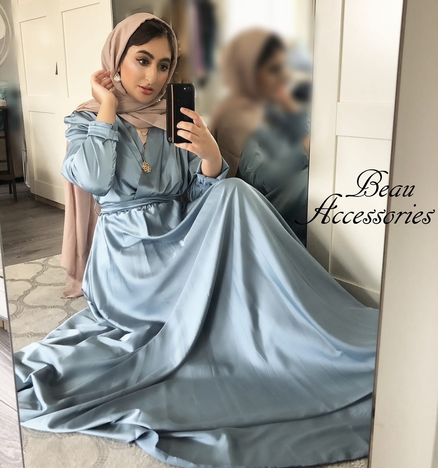 Image of Plain Satin Maxi Dress