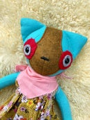 Image of Raggedy Kitty No.3 - Teal/Mustard