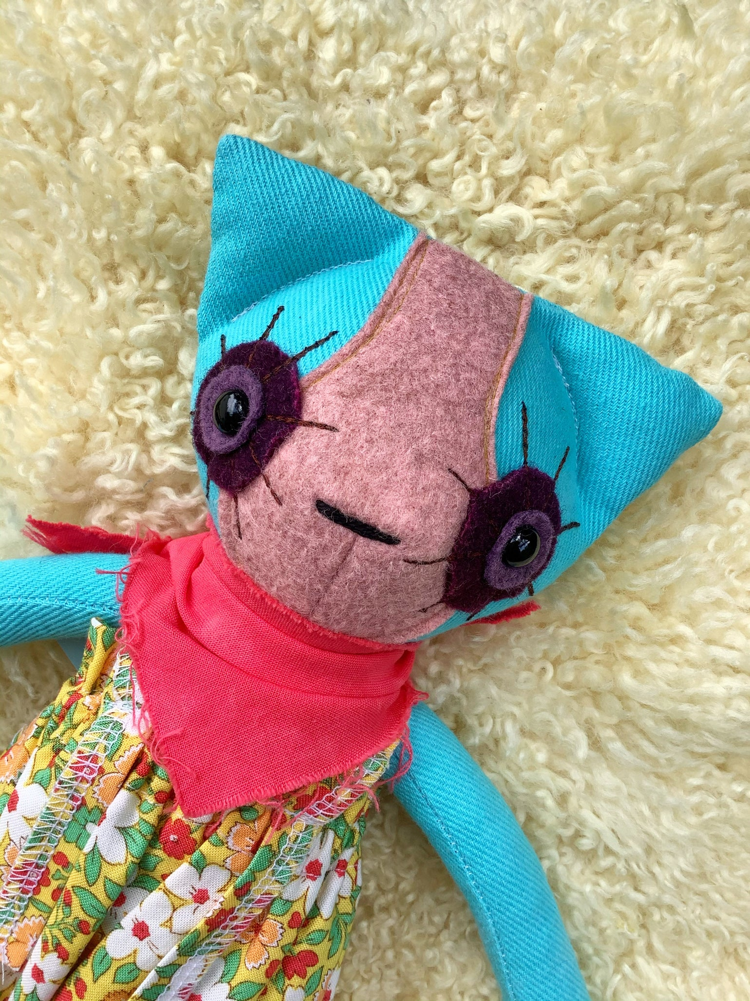 Image of Raggedy Kitty No.6 - Teal/Pink