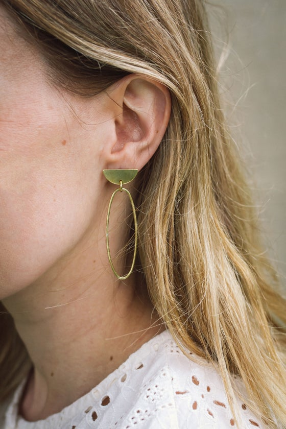 Image of Oval D top statement earrings 2 styles available in Brass