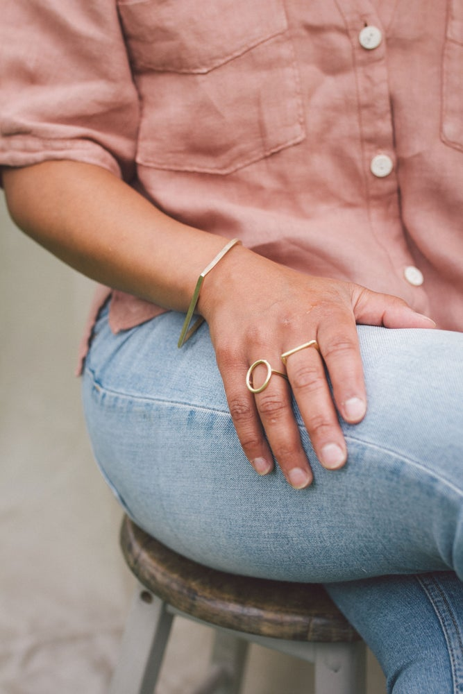 Image of Round top statement ring available in Brass or Silver