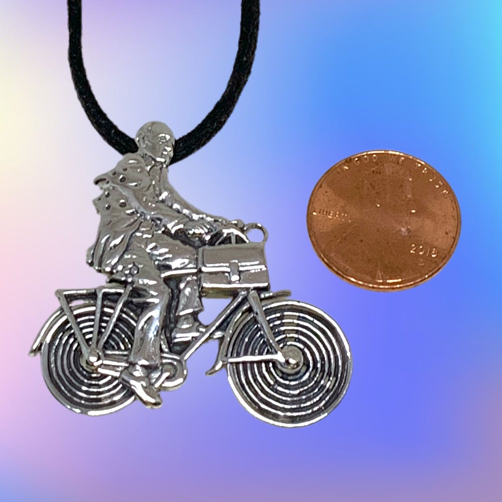 Image of Albert Hofmann Bicycle Day Tribute Sterling Silver Pendant