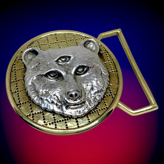 Image of Owsley Tribute Belt Buckle Cast in Yellow Brass & Sterling Silver