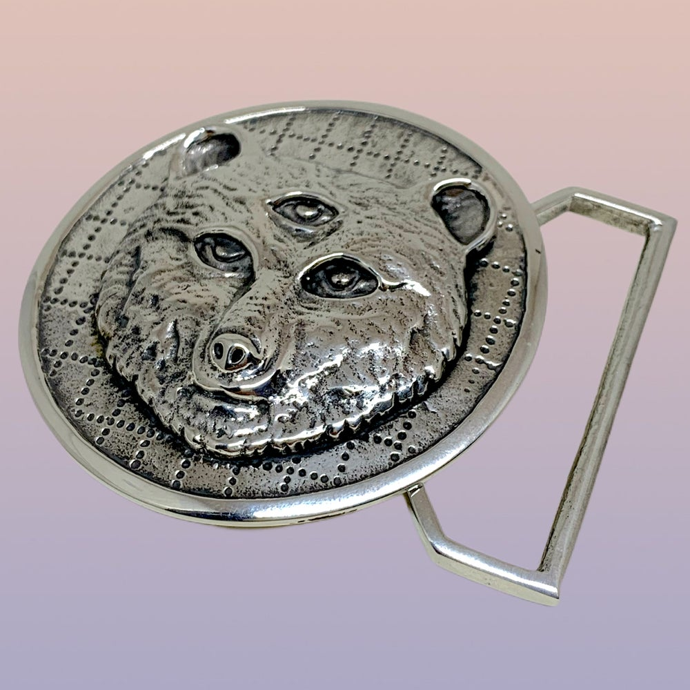Image of Owsley Bear Tribute Buckle Cast in White Brass