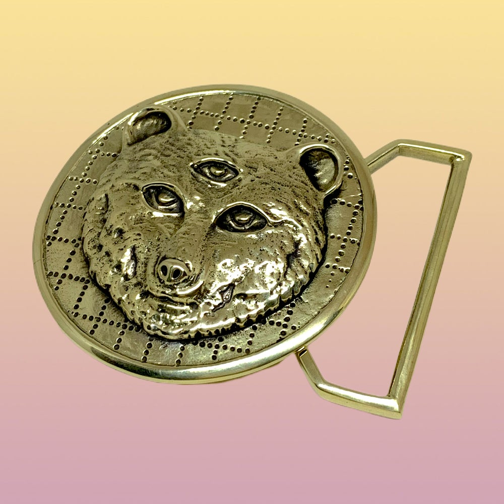 "Image of Owsley ""Bear"" Tribute Belt Buckle Cast in Yellow Brass"