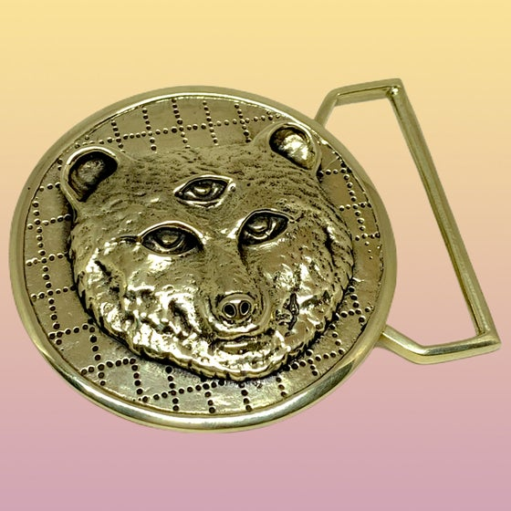 """Image of Owsley """"Bear"""" Tribute Belt Buckle Cast in Yellow Brass"""