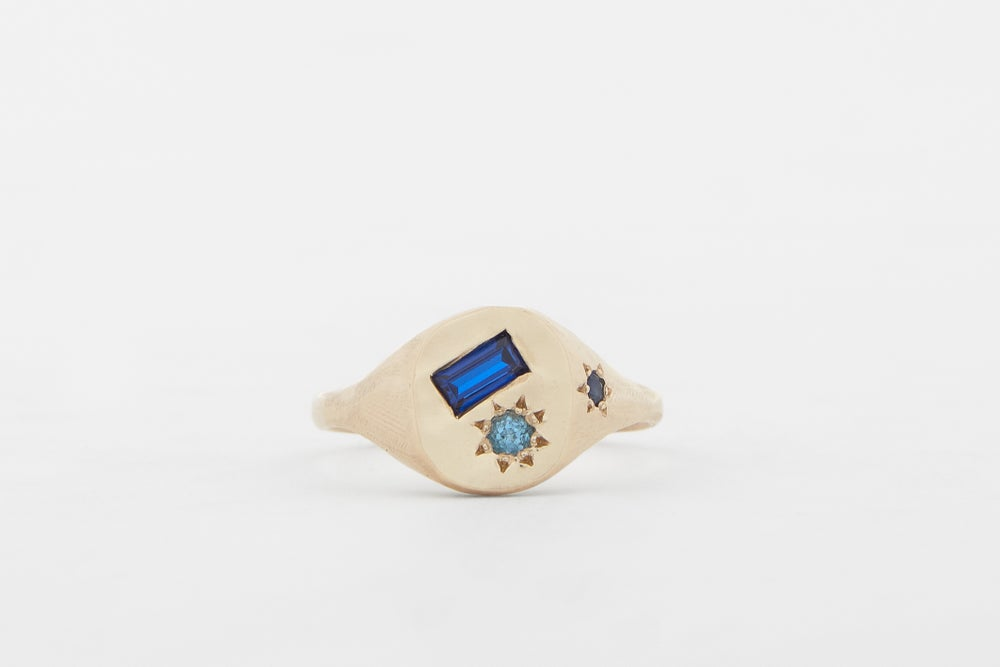 Image of Blue baguette ring