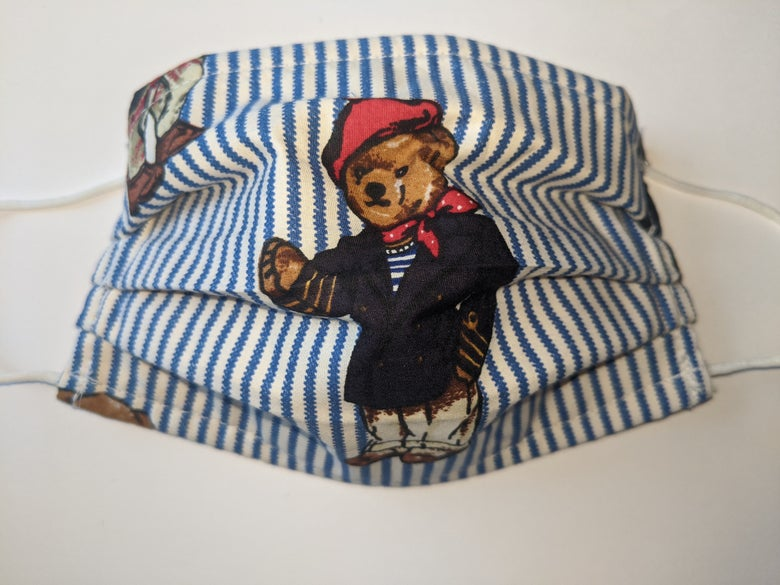 Image of Kids Bear Print Pleated Face Mask