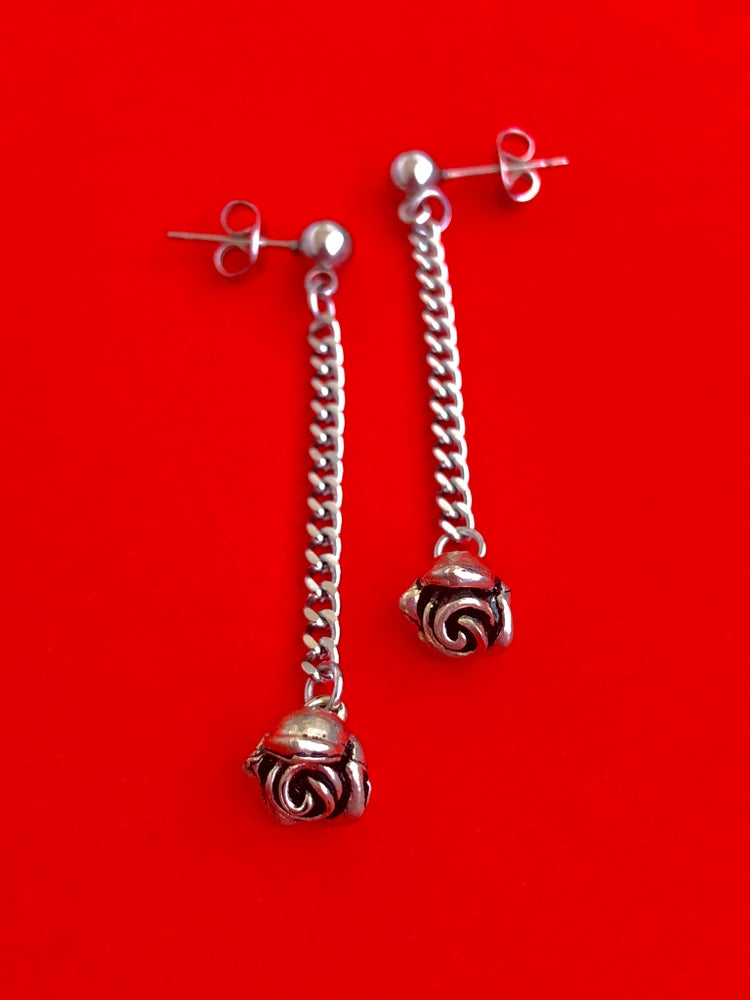 Image of ROSE CHAIN DROP EARRINGS