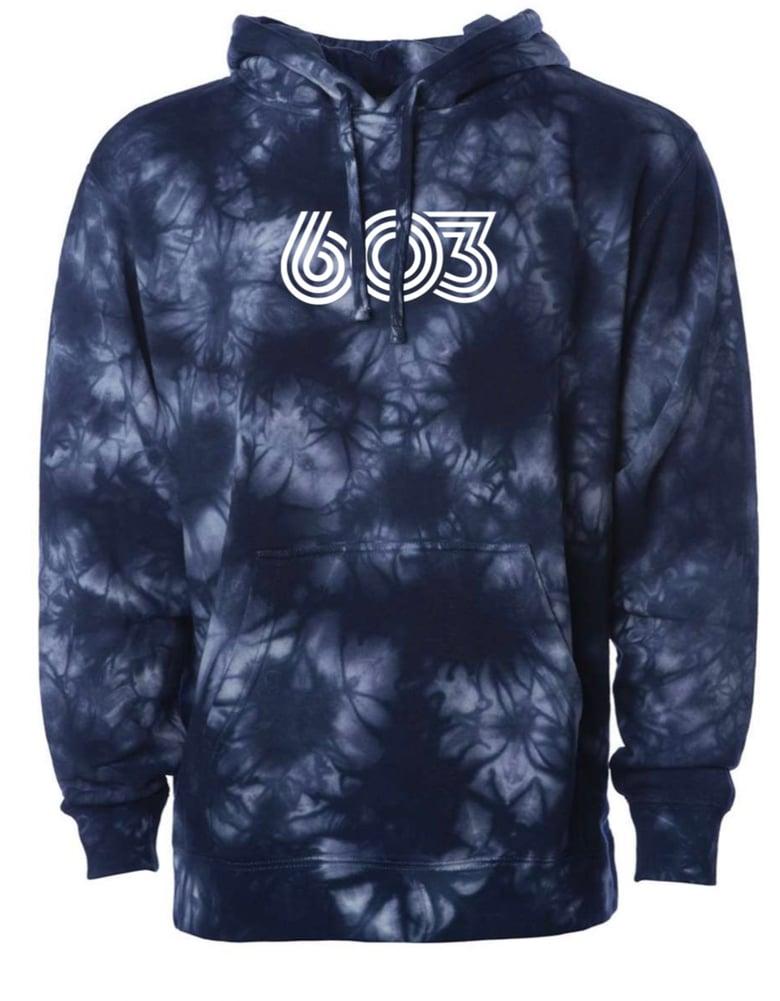 Image of Tie-dye 603 hoodie - Navy - Unisex