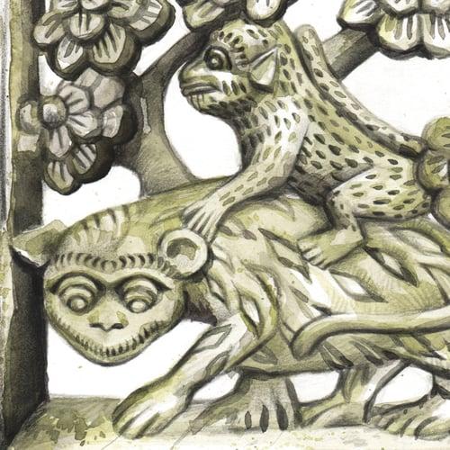 """Image of Original Painting - """"Détail sculpté en pierre dans un jardin balinais"""" - 30x30 cm"""