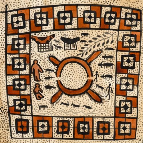"Image of Original Painting - ""Ma'a - Textile sacré du peuple Toraja 2"" - 30x30 cm"
