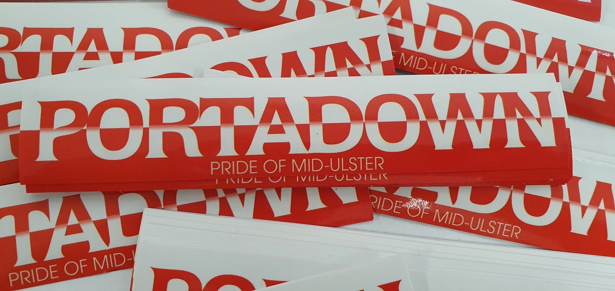 Pack of 25, 15x3cm Portadown Pride of Mid Ulster football/ultras stickers.