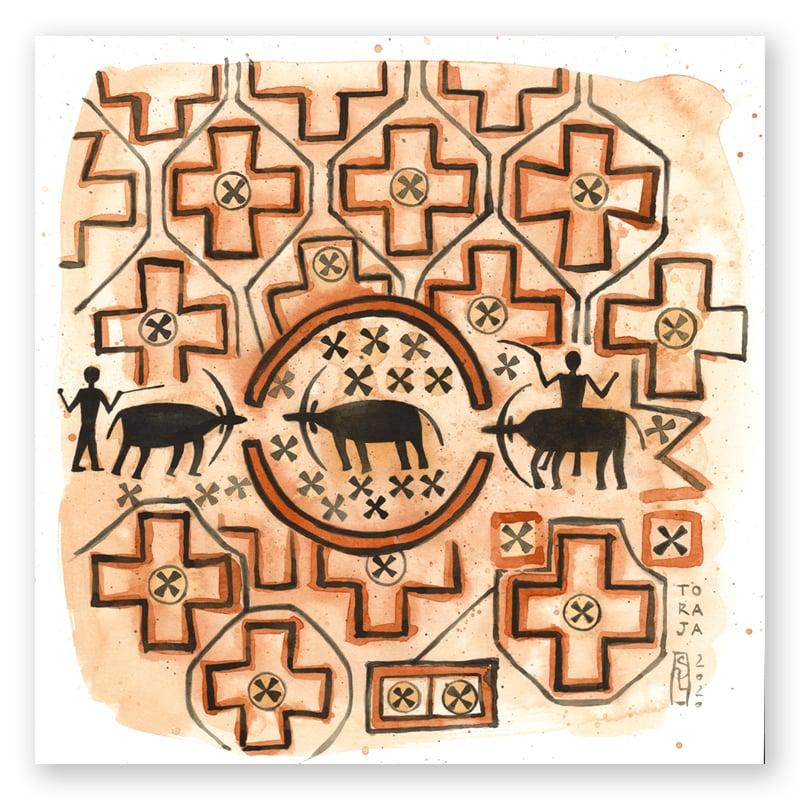 "Image of Original Painting - ""Ma'a - Textile sacré du peuple Toraja 1"" - 30x30 cm"