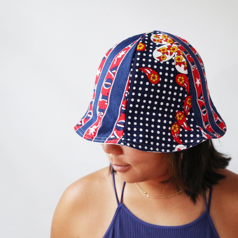 Image of navy blue polka dots vote tween teen adult vintage fabric six panel bucket hat buckethat sunhat