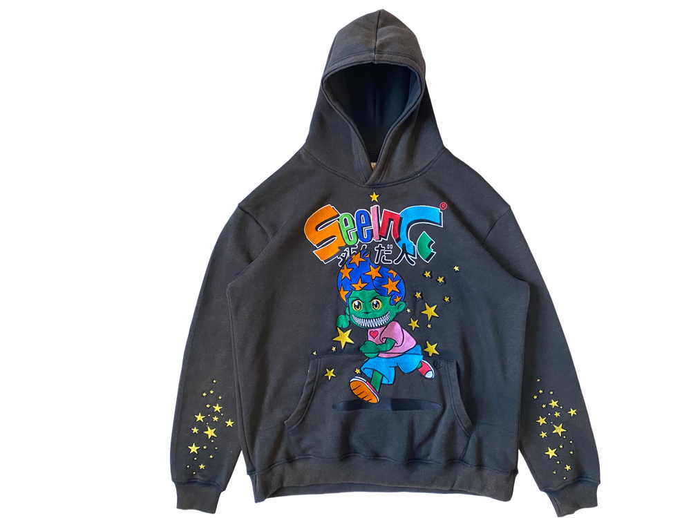 Image of VINTAGE BLACK CELESTIAL STARBOY OVERSIZED PULLOVER HOODIE