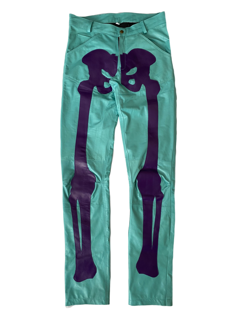 Image of AQUA PURPLE BIKER BONES LEATHER PANTS