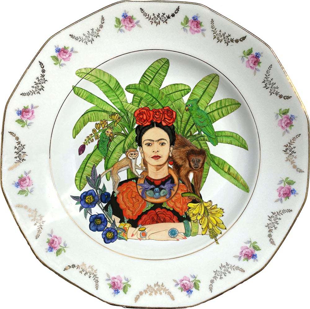 Image of Tropical Mexican watercolor - Vintage Porcelain Plate - #0732