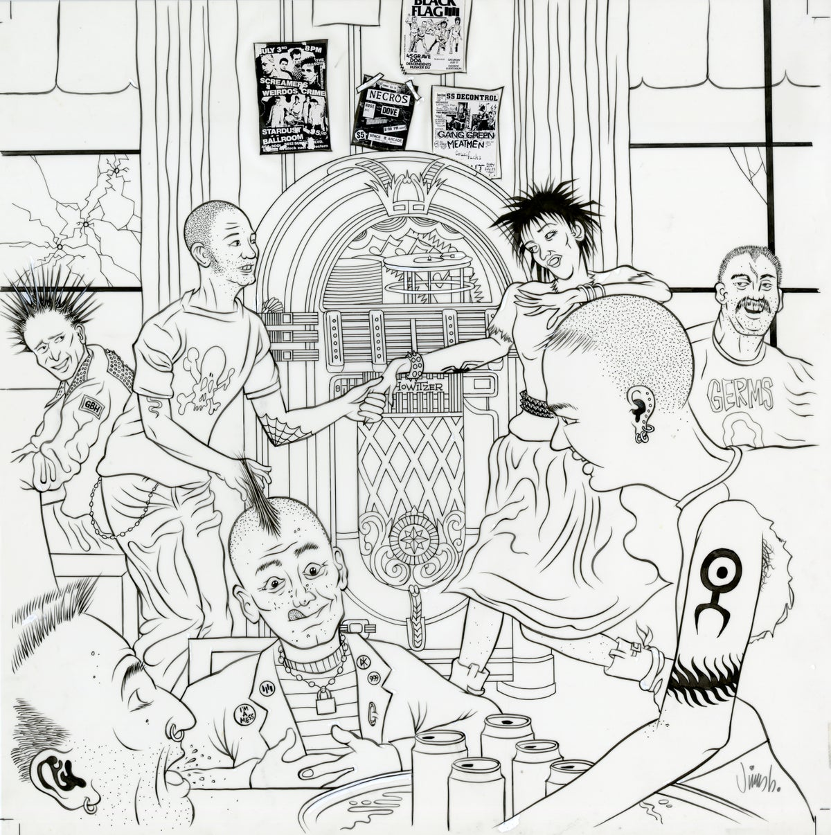Image of PUNK ROCK JUKEBOX ink original