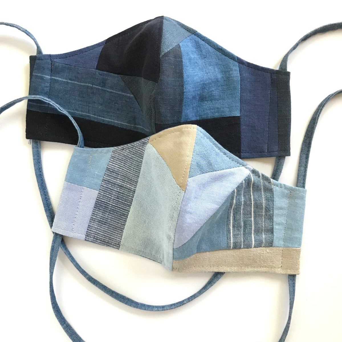 Image of PATCHWORK FACE MASK WITH TIES